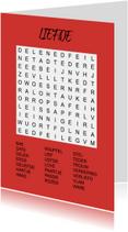 Puzzelkaartje met woordzoeker Liefde