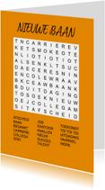 Puzzelkaartje met woordzoeker Nieuwe Baan