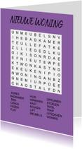 Felicitatiekaarten -  Puzzelkaartje met woordzoeker Nieuwe Woning