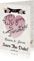 Trouwkaarten - Save The Date hart tekst