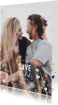 Trouwkaarten - Save the date kaart gouden hartjes