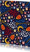 Sinterklaaskaart met kado's, mijters, staf en pompeblêden