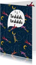 Sinterklaaskaarten - Sinterklaaskaart met vliegende Pietjes en sterren