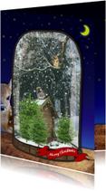 Kerstkaarten - Sneeuwbol kerst bos 1