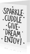 Kerstkaarten - Sparkle, cuddle, dive, dream....