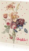Sterktekaart met pastelkleurige bos bloemen en stippen