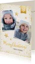 Stijlvolle kerstkaart met 2 eigen foto's en gouden sterren