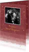 Stijlvolle kerstkaart met waterverf en goudlook confetti