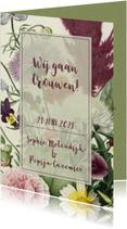 Stijlvolle trouwkaart met vintage bloemen.