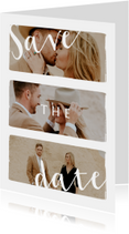 Stijlvolle trouwkaart save the date met fotocollage