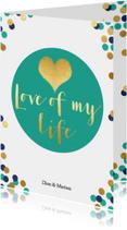 Trouwkaart met confetti - BK