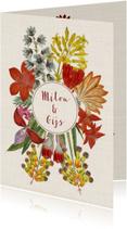 Trouwkaart met krans van vrolijke vintage bloemen