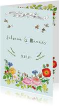 Trouwkaart met rozen en hop