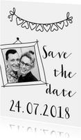Trouwkaart save the date zwart wit