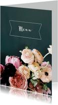 Trouwmenu bloemen schilderstijl
