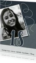 Uitnodigingen - Uitnodiging 18de verjaardag met foto en slinger