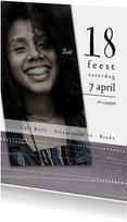 Uitnodigingen - Uitnodiging 18de verjaardag,  witte stippellijnen
