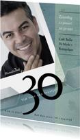 Uitnodigingen - Uitnodiging 30ste verjaardag in groenblauwe tinten