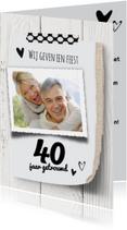uitnodiging 40 jaar getrouwd - licht hout  LO