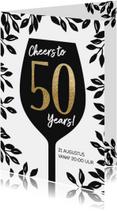 Uitnodiging 50 jaar wijnglas Cheers