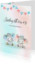 Uitnodiging babyshower blauw/roze