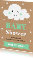Uitnodiging babyshower wolkje sterren kraft