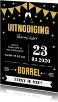 Uitnodiging borrel typografie slinger goud confetti
