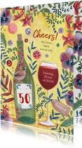 Uitnodiging feestje botanisch bloemen wijn