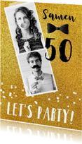 Uitnodiging glitter fotokaart feest