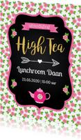 Uitnodiging High Tea typografie bloemen