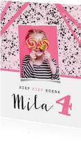 Uitnodiging kinderfeestje meisje hip roze spetters en foto