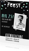 Uitnodigingen - Uitnodiging man confetti hip met foto