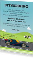 Kinderfeestjes - Uitnodiging met Formule 1 racewagen