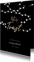 Uitnodiging nieuwjaarsborrel 'let's toast' en lampjes