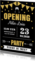 Uitnodiging opening typografie confetti slinger goud