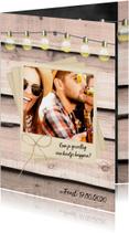 Uitnodiging party hout en foto