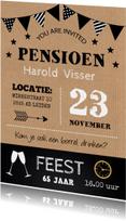 Uitnodiging pensioen feest typografie kraft krijtbord