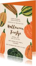 Uitnodiging pompoenen feest herfst Halloween