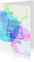 Verjaardagskaarten - Uitnodiging taart watercolour