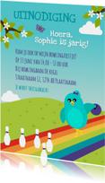 Kinderfeestjes - Uitnodiging voor bowling kinderfeestje meisje