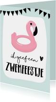 Uitnodiging zwemfeestje flamingo