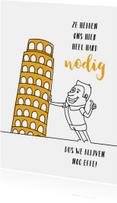 Vakantiekaarten - Vakantie cartoon met toren van Pisa