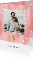Valentijnskaarten - Valentijnskaart met waterverf, hartjes en foto