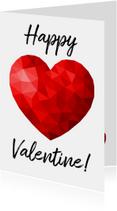 Valentijnskaart voor man met rood low poly hart