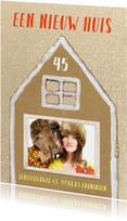 Verhuiskaart glitter huis met foto in raam