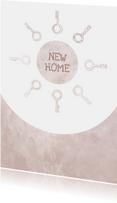 Verhuiskaart  marble roze met sleutels