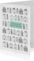 Verhuiskaart met geïllustreerde huisjes