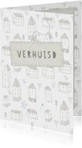 Verhuiskaart met huisjes, bloemetjes en een label