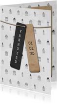 Verhuiskaart met labels en huisjes patroon