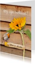 Verhuiskaart roodborstje en  zonnebloem